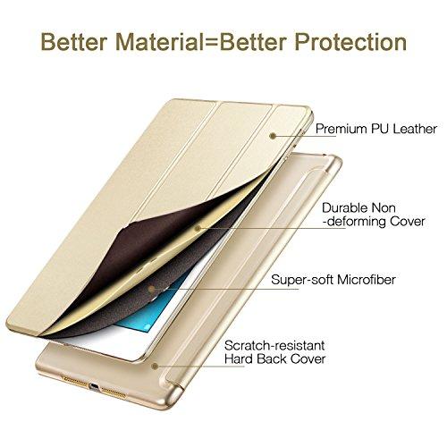 ESR iPad 2017 iPad 9.7 Zoll Hülle, Ultra Dünn Cover Auto aufwachen/Schlaf Funktion Smart Case Wickelfalz Ledertasche mit Lichtdurchlässig Rückseite Abdeckung Schutzhülle für iPad 9.7 2017 (Gold) - 2
