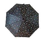 Paraguas cambia de color con la lluvia/agua Mágico estampado Estrellas color Negro Plegable Automático Medidas 60cm Anti Viento