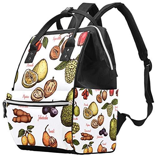 Tropical Fruits Zaino per pannolini, grande capienza, borsa da viaggio multifunzione per pannolini, borsa da allattamento, spaziosa impermeabile per la cura del bambino