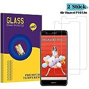 Huawei P10 Lite Panzerglas Schutzfolie, Yanfhz Hohe Qualität Gehärteter Schutzfolie [2 Stück] [Ultra Klar] [Anti Fingerabdruck] [Blasenfrei] [Anti-Kratzen] Gehärtetes Glas Displayschutzfolie für Huawei P10 Lite