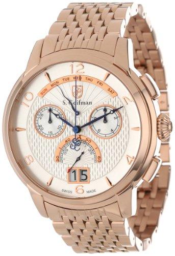 S.Coifman SC0188 Orologio da Polso, Display Cronografo, Uomo, Bracciale Acciaio Inox, Oro Rosa
