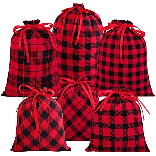 Aneco 6 Pack Christmas Bag Holiday Cotton Red and Black Plaid Stocking Storage with Drawstrings Present Xmas Gift Christmas Bags, 3 Sizes