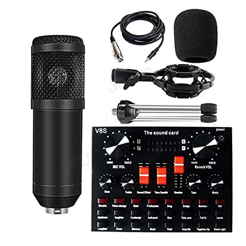 ywzhushengmaoyi mikrofon Microfono condensatore BM 800 Karaoke per PC Studio Braodcasting Cantante Kit microfone microfone con V8X. Scheda Audio Microphone (Color : Black V8S)