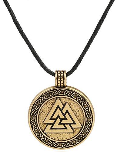 Vintage-Halskette Odin-Wikinger-Amulett, Valknut-Anhänger, Schmuck für Herren und Frauen