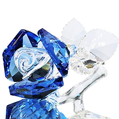Waltz&F Crystal Rose Flower Glass Rose Paperweight Figurine Collectible Statue Wedding Table Centerpiece Ornament,Blue Rose