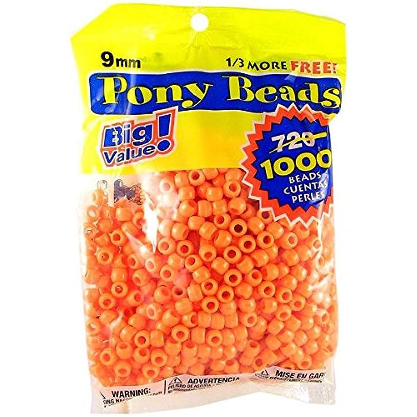 Darice Orange Opaque 9mm, 1000 Pieces Pony Beads,