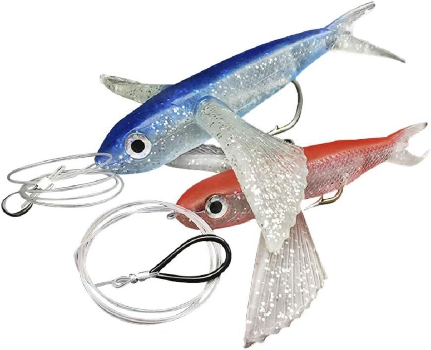 "Marlin Lure Yummy Flyer 2 pcs  8/"" Rigged Red /& Blue Flying Fish Mahi,Tuna"