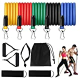 Resistance Bands Set (11pcs) for Men & Women with Handles/Door Anchor/Ankle Straps/Carrying Bag, Physical Therapy, Strength, Slim, Yoga, Home Gym Equipment