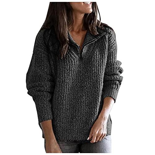 Sudadera para mujer, informal, suelta, con costuras de color sólido, de manga larga, cuello alto, media cremallera, suéter de punto, blusa tipo túnica, gris oscuro, 6X-Large