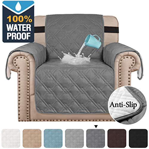 """H.VERSAILTEX 100% Waterproof Armchair Protectors Cover for Living Room Armchair Slipcover Covers Furniture Chair Protectors from Dogs Pets with Non-Slip Backing (Seat Width 21"""", Grey)"""