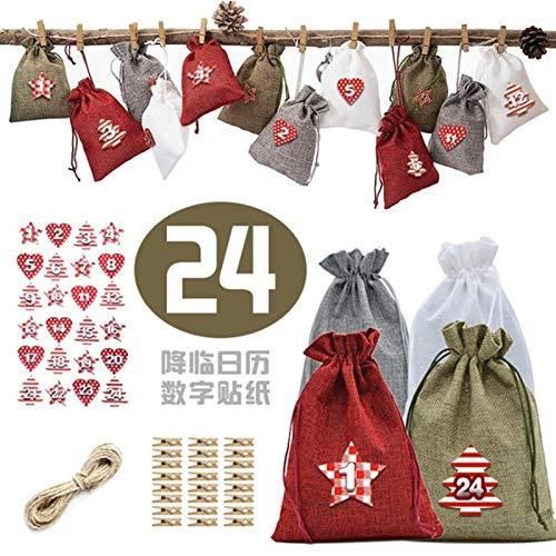 HAPPKING 24PCS Christmas Linen Drawstring Pocket Vierfarbige Kombination Geschenktüte Set Christmas Candy Drawstring Aufbewahrungstasche Weihnachtsdekoration Hängetasche