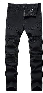 Mens Moto Skinny Stretch Distressed Jeans Super Comfy Casual Slim Fit Biker Denim Pants