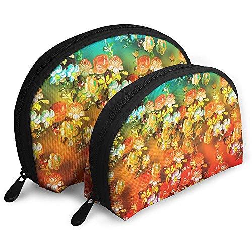 Blumenkunst-bunter tragbarer Taschen-Make-upbeutel-Kulturbeutel, tragbarer Multifunktionsreisebeutel-Kleiner Make-upkupplungs-Beutel mit Reißverschluss