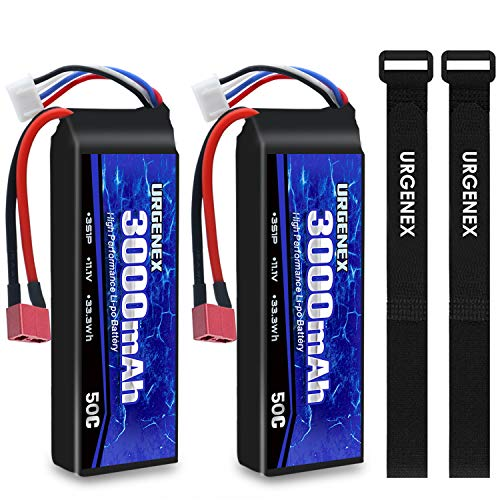 URGENEX 3S Lipo Battery 11.1v 3000mAh 50C RC Lipo Batteries with Dean-Style T Connector for RC Evader BX Car RC Truck RC Truggy RC Airplane UAV Drone FPV RC Helicopter 2 Packs