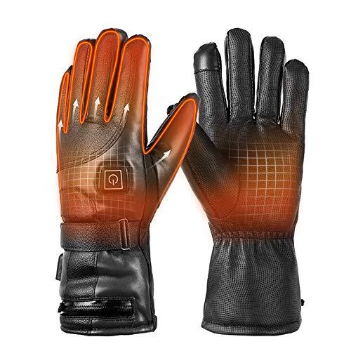 PU Leder Beheizte Handschuhe Unisex Beheizbare Handschuhe Damen Herren Winterhandschuhe für Skifahren,Jagen,Angeln,Reiten,Radfahren,Camping, Wandern Batterie Angetrieben