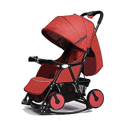 LIU UK Baby Stroller Cochecito de bebé Ligero Plegable 0/1-3 años Simple Portátil Carrito para niños Silla Mecedora Variable (Color : Rojo)
