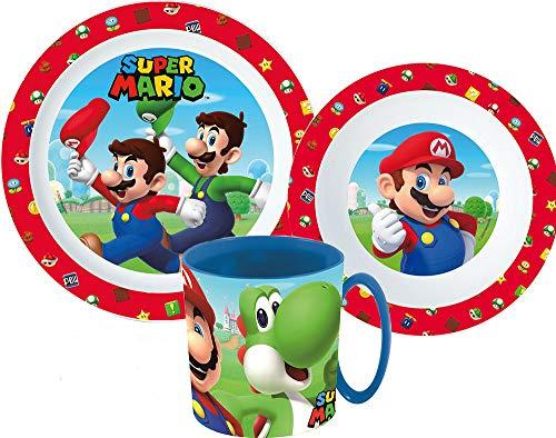 Super Mario Kinder-Geschirr Set mit Teller, Müslischale und Trinkbecher