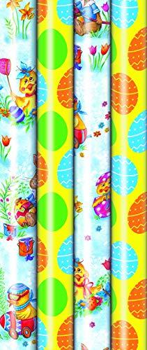 4 Rollen Premium Osterpapier, Geschenkpapier Ostern, Ostern, Eier, Hase, 2m x0,7m