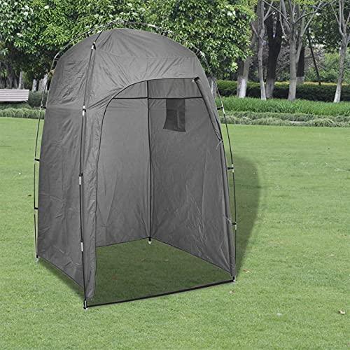 Tidyard Cabina de Ducha WC Vestidor para Camping Tienda Instantáneas Campaña Parque Playa Campamento Exterior Ducha Privacidad Plegable Duradera Estable Gris 130 x 130 x 210 cm