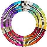 Curtzy Set Hilos para Bordar (100 Madejas) 8 m Colores Arcoíris 6 Hebras - Pack Hilo Bordar para Manualidades, Punto de Cruz, Pulsera de Amistad, Arte con Hilos - Coser y Ganchillo