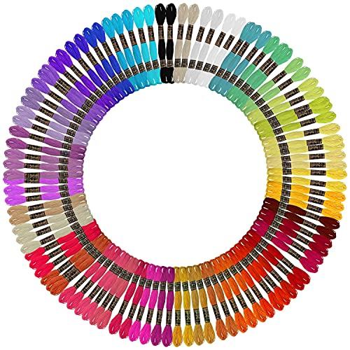 Curtzy Set Hilos para Bordar (100 Madejas) 8 m Colores Arcoíris 6 Hebras - Pack Hilo Bordar para...