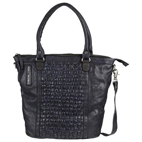 Taschendieb Wien Leder Handtasche Schultertasche Handbag Tasche TD0610, Farbe:Anthrazit