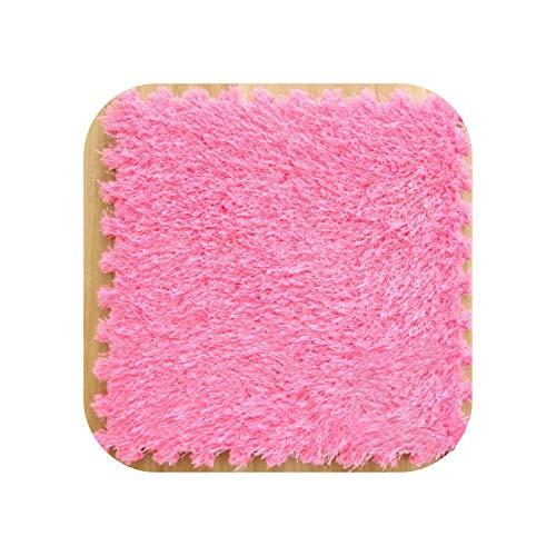 Big Incisors Map Rugs Bedroom One Piece 30x30CM DIY Puzzle Mat Foam Long Villi Shaggy Carpet Jigsaw Mat Plush Soft Area Rug Children Baby Play Mats-Rose Red-