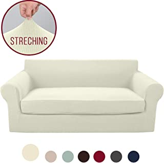Vailge 2-Piece High Stretch Jacquard Sofa Slipcover, Durable Sofa Cover with Separate Cushion Cover, Machine Washable Couch Covers/SlipCover for Dogs,3 Cushion Couch,Kids,Pets(Sofa:Beige)