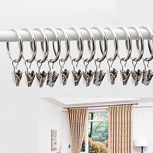 FISHBERG Lot de 10 anneaux de rideaux en fer avec clips de suspension de 5,1 cm de diamètre intérieur - 35 mm - Argentés
