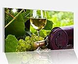 Acrylglasbild 80x50cm Wein Glas Trauben grün Weinkeller