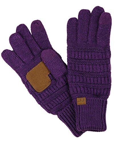 C.C Unisex Cable Knit Winter Warm Anti-Slip Touchscreen Texting Gloves, Purple Metallic