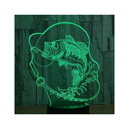 TIDRT Luz De Noche Led 3D para Pesca, 7 Luces Decorativas Que Cambian De Color, Lámpara USB, Lámpara De Mesa para Niños, Atmósfera, Luz De Regalo De Fiesta para Niño Y Niña