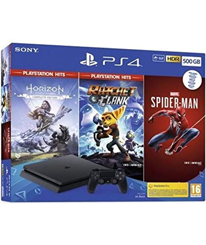 PlayStation 4 500 GB (PS4) + Spiderman + Horizon Hits + R&C Hits