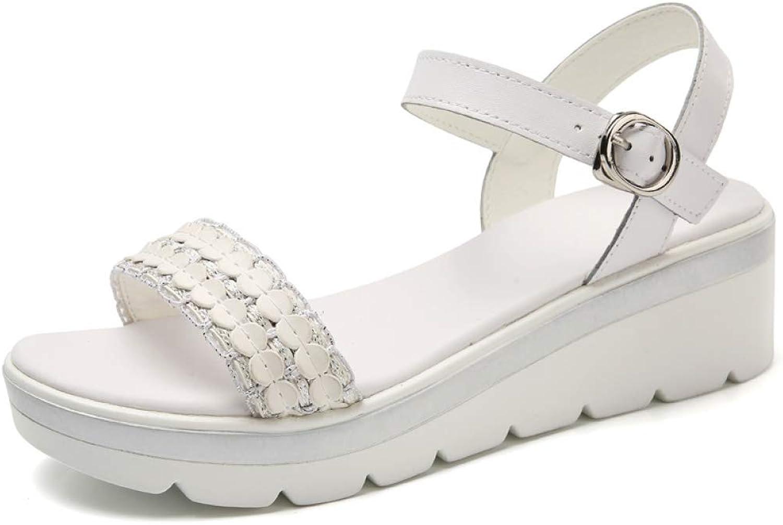 Hoxekle Women Summer Soft Wedge Platform Antislip Sandals Open Toe Ladies Ankle Strap Buckle Flat Sandals