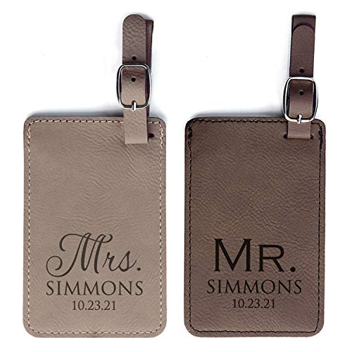 Personalized Mr & Mrs Luggage Tags Pair - Vegan Leather Wedding Luggage Tags (Light & Dark Brown)