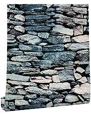 ملصقات جدارية بشكل حجري ثلاثية الابعاد من هاوك هوم ذاتية اللصق تصلح لغرفة المعيشة والنوم لون بيج داكن/اسود 620434