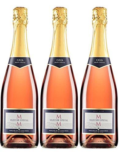 Marqués de la Concordia MM Selección Especial Rosé Cava - 3 botellas x 750 ml - Total: 2250 ml - 2250 ml