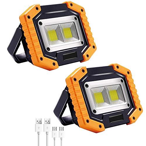 Camisin Luz Trabajo LED,2 COB 30W 1500LM Recargable,LED Luz InundacióN LED Impermeable para Acampar Exterior Senderismo ReparacióN Coche Emergencia e IluminacióN Lugar Trabajo(2Paquete)