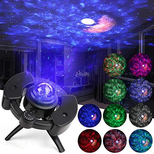 Proyector de Estrellas Proyector de Lámparas Luna 13 Modo de Color Altavoz de música Bluetooth Incorporado Con temporizador y sensor de sonido para Niños, Adulto, Cumpleaños y Fiesta