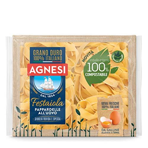 Agnesi Pappardelle all'uovo | Pasta all'uovo Festaiola | Confezione compostabile da 250 grammi