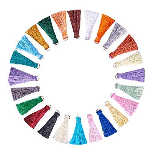 NBEADS 78 borlas Suaves y sedosas de Colores Surtidos Hechas a Mano con Lazos para Llavero y Correas para teléfono móvil, Accesorios de Bricolaje