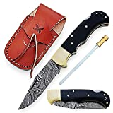 6.5 Inch Handmade Damascus Pocket knife for Men Folding Knife with back lock Small Pocket knife for Hunting Camping Hiking Damascus hunting knife with sheath Best EDC Camping Knife (Buffalo Horn)