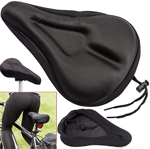 Sinrextraonry Gel Bike Seat Cover, Best Bike Saddle Cover with Black Waterproof Saddle Cover - Extra Comfortable Gel Bicycle Seat for MTB Mountain Road Bike Saddle - Padded Bike Cushion Saddle Cover