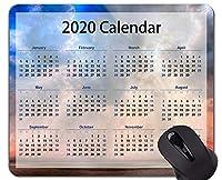 カスタマイズされた2020ギャラクシーカレンダーマウスパッド、ステッチエッジとビーチスカイテーマのマウスパッド