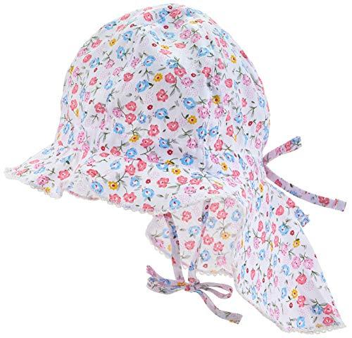 maximo Baby-Mädchen Flapper, Nackenschutz Mütze, Mehrfarbig (Weiss/Multicolor-Blumen 199), 47