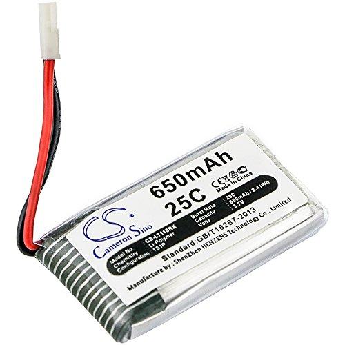 CS-LT118RX Batería 650mAh Compatible con [SYMA] CX-30, F5C, V929, Walkera QR, X5, X5A, X5C, X5C-1, X5SC, X5SW, [CHEERSON] CX-30W, [HUBSAN] H107, H107C, H107D, H107D Mini, H107L, X4 H107L, [JJRC] H5C,