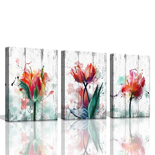Rustic Wall Decor for Bedroom Red Watercolor Tulips Flower Wall Pictures Prints Decorations for Bedroom Vintage White Wood Planks Background 3 Pieces Florals Canvas Art Set Pictures for Home Decor