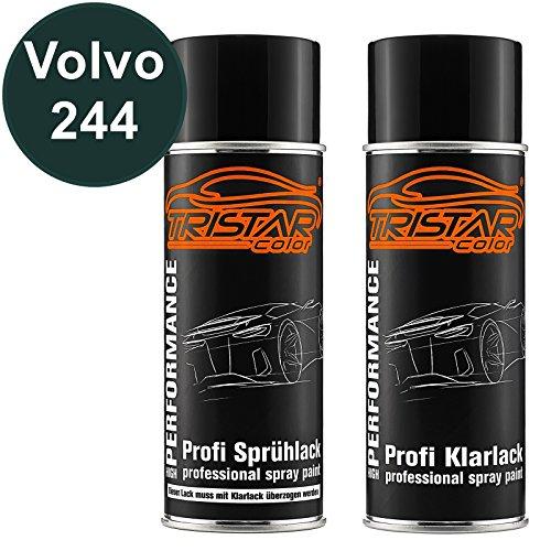 TRISTARcolor Autolack Spraydosen Set für Volvo 244 Dark Green/Classic Green Basislack Klarlack Sprühdose 400ml