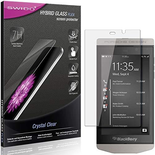 SWIDO Panzerglas Schutzfolie kompatibel mit BlackBerry Porsche Design P9982 Bildschirmschutz-Folie & Glas = biegsames HYBRIDGLAS, splitterfrei, Anti-Fingerprint KLAR - HD-Clear