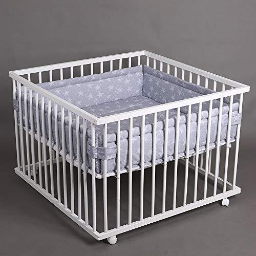 Parc bébé de luxe parc enfant 100x100cm parc de bebe TIGGO blanc - gris 49266-01